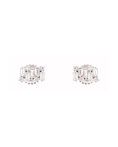18k White Gold Diamond Firework Stud Earrings