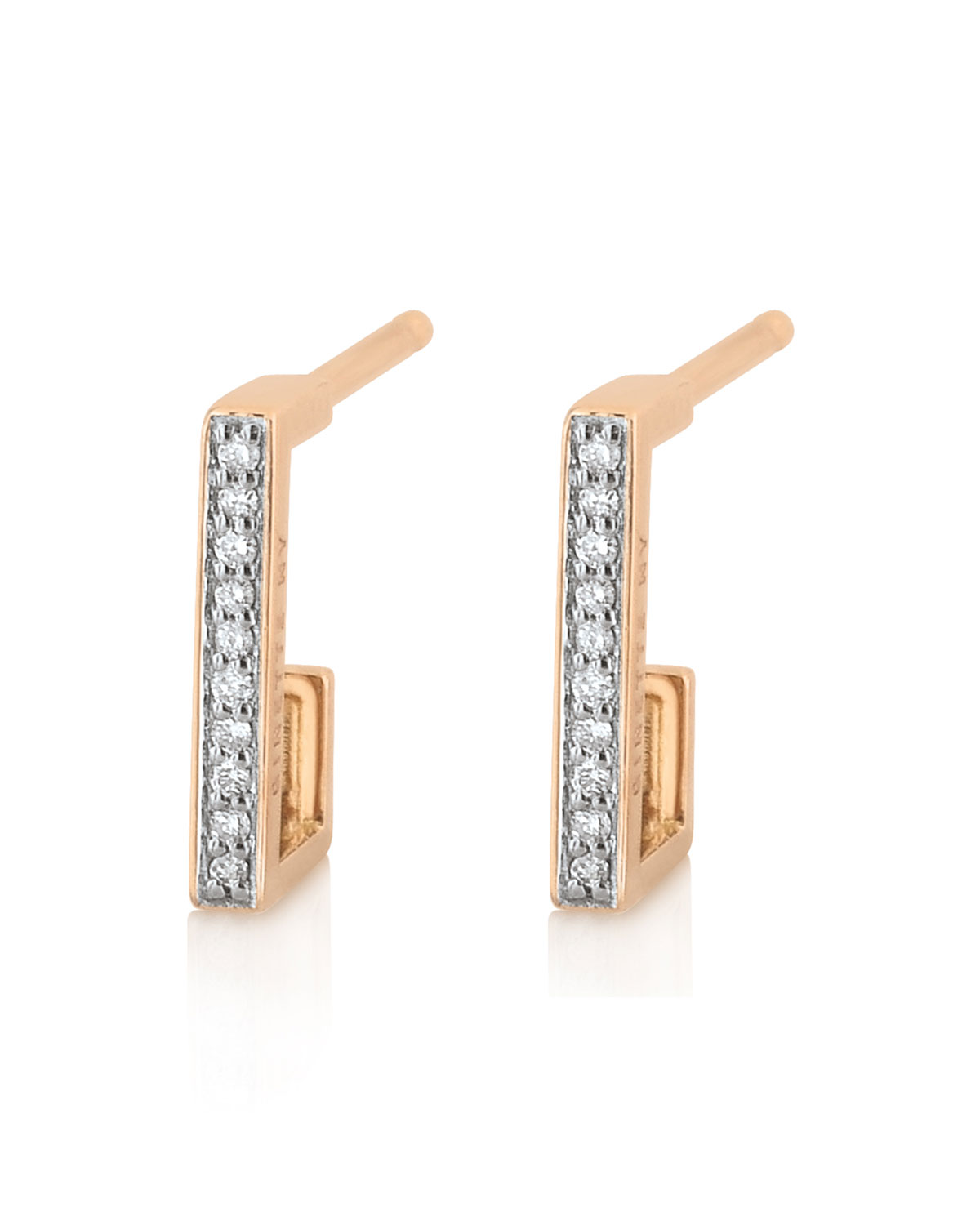 GINETTE NY 18k Rose Gold Diamond Art Deco Hoop Earrings