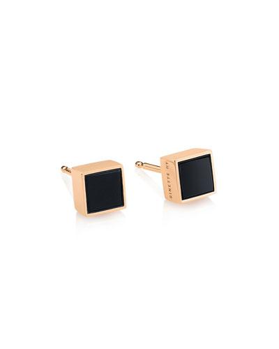 Ever 18k Rose Gold Square Stud Earrings  Onyx