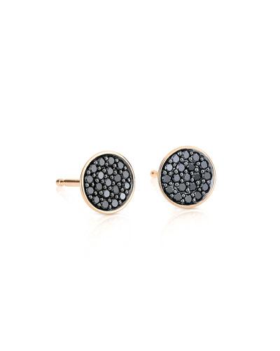 18k Rose Gold Black Diamond Stud Earrings