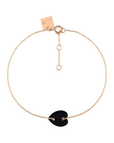 Angele 18k Rose Gold Mini Onyx Heart Bracelet