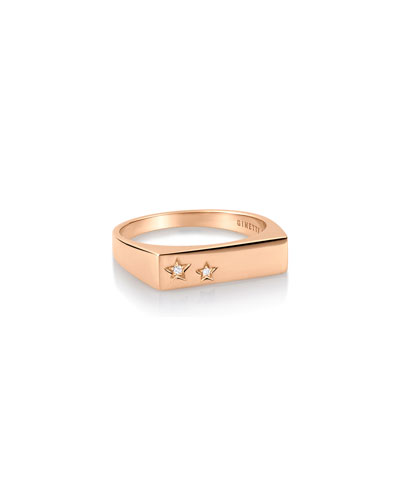 Milky Way Baguette 18k Rose Gold Diamond Ring  Size 6