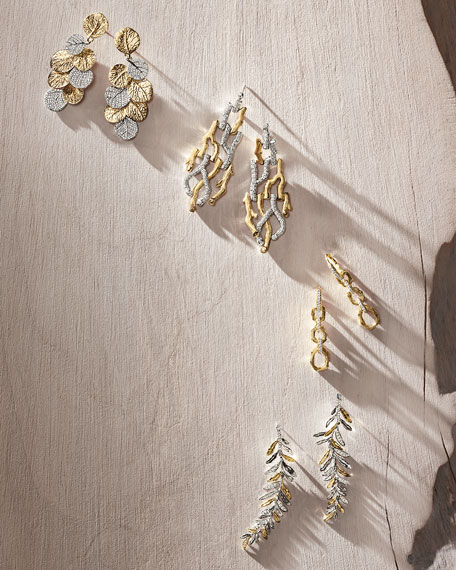 Image 2 of 2: Michael Aram Enchanted Forest Twig Link Two-Tone Earrings w/ Diamonds