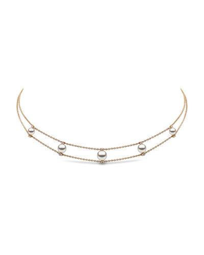 18k Pearl & Diamond 2-Row Necklace