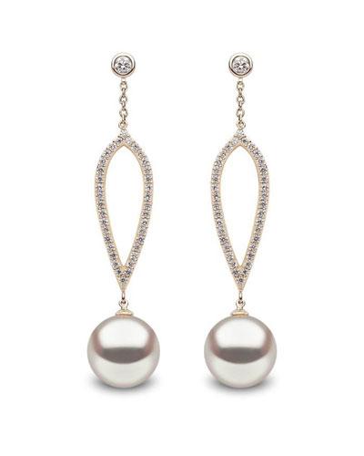 18k Pearl & Open Diamond Dangle Earrings