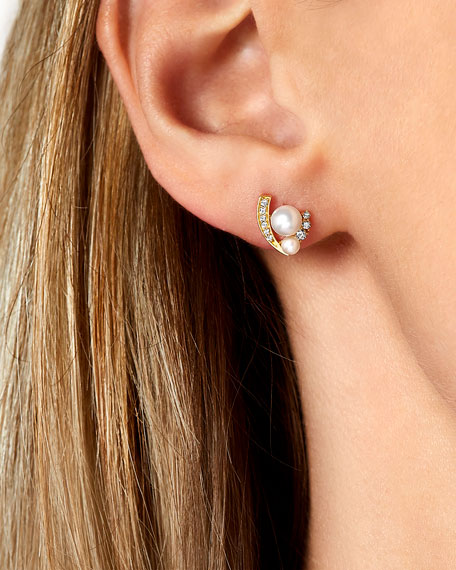 Image 2 of 2: 18k Double-Pearl & Diamond-Accent Earrings