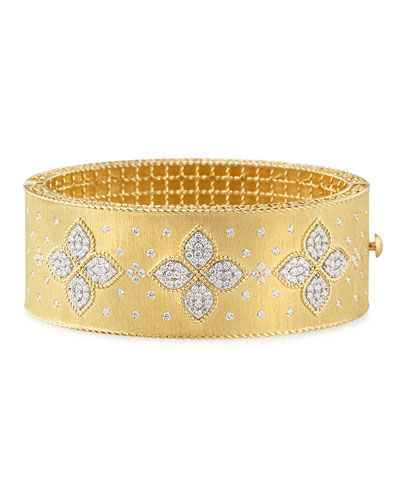 18k Gold Venetian Princess Wide Diamond Bangle