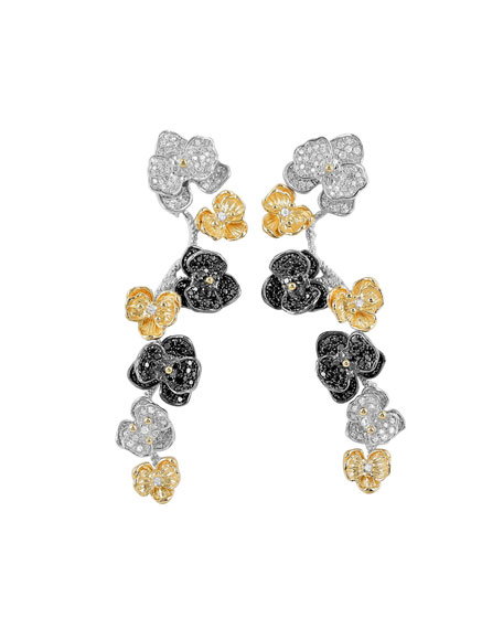 Michael Aram Orchid Tricolor Drop Earrings w/ Diamonds