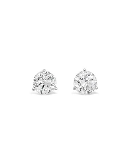 NM Diamond Collection 18k White Gold Diamond Martini Stud Earrings, 2.0tcw