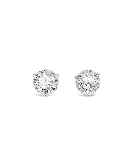 NM Diamond Collection 18k White Gold Diamond Martini Stud Earrings, 3.0tcw