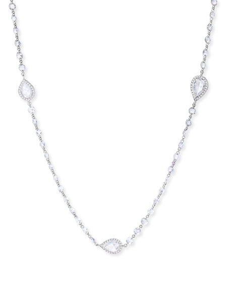 64 Facets 18k White Gold 9-Station Diamond Pear Necklace