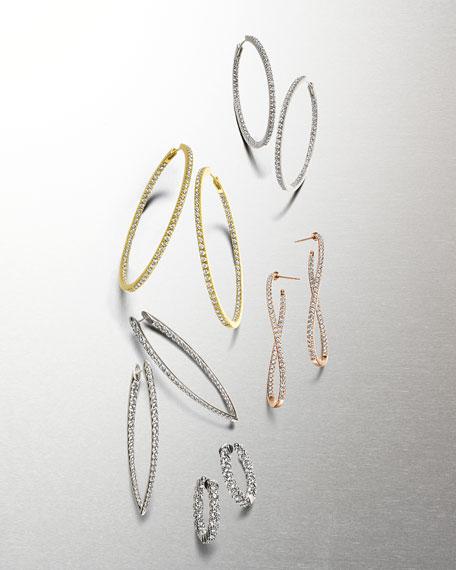 Memoire 18k Rose Gold Diamond Twist Hoop Earrings