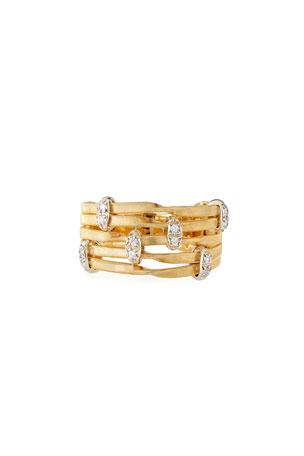 Marco Bicego Marrakech Onde 18k 5-Strand Diamond Ring, Size 7