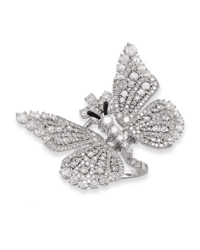 Tremblant 18k White Gold Diamond Butterfly Ring