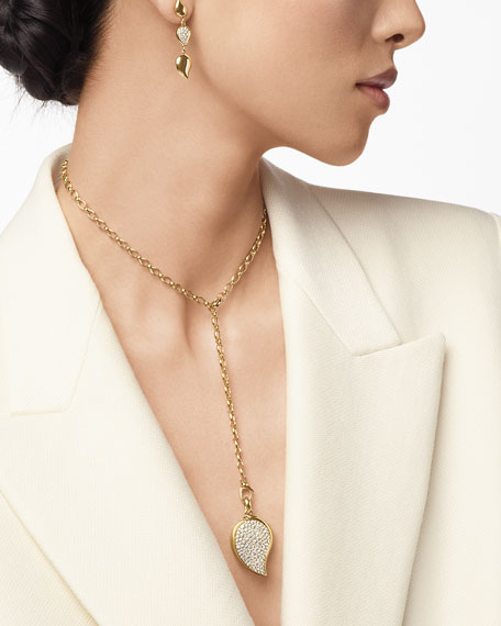 Tamara Comolli Mismatch 18k Linear Diamond Leaf Earrings
