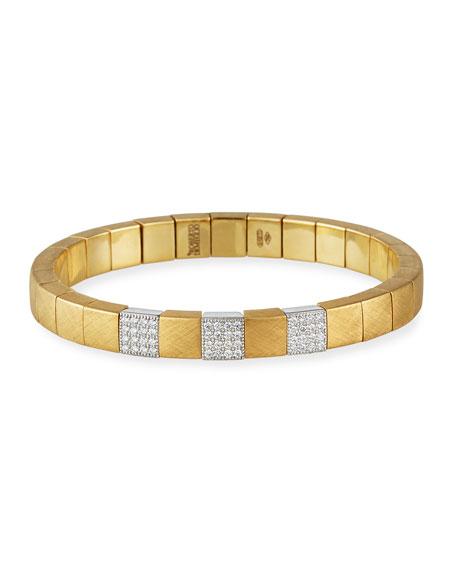 Roberto Demeglio SCACCO Matte 18k 3-Diamond Pave Stretch Bracelet