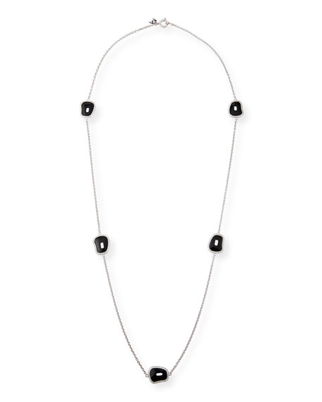 Mattioli Puzzle 18k White Gold Long 5-Black Onyx Necklace w/ Diamonds
