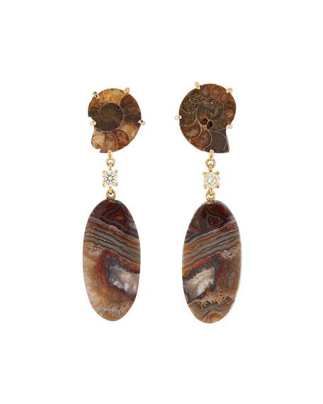 Jan Leslie 18k Bespoke 2-Tier Tribal Luxury Earrings w/ Ammonite Fossil, Lace Agate & Diamonds