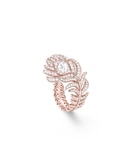Boucheron 18k Rose Gold Diamond Plume de Paon Ring, Size 53