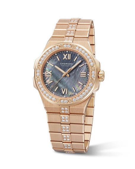 Image 2 of 2: Chopard 36mm 18k Rose Gold Diamond Watch w/ Bracelet Strap, Gray