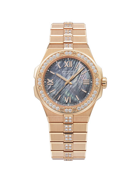 Image 1 of 2: Chopard 36mm 18k Rose Gold Diamond Watch w/ Bracelet Strap, Gray