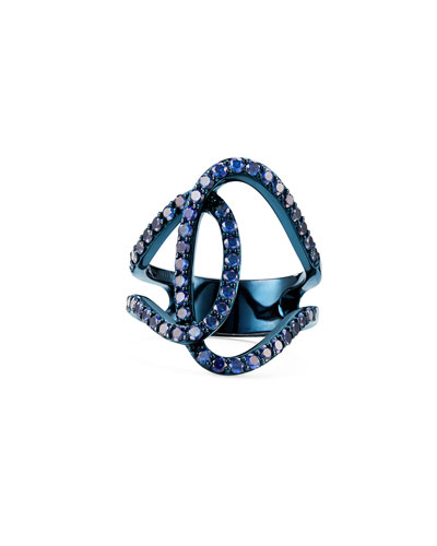 Illuminating 14k Blue Gold Sapphire Interlock Ring  Size 5