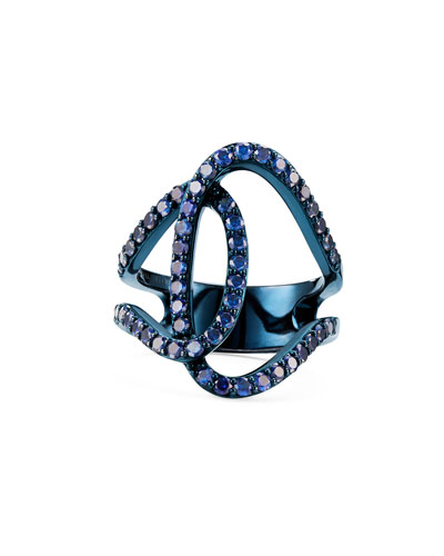 Illuminating 14k Blue Gold Sapphire Interlock Ring  Size 7