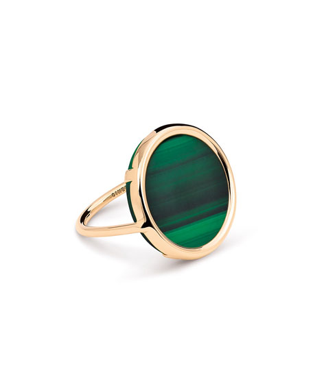 GINETTE NY Ever 18k Rose Gold Malachite Disc Ring, Size 7