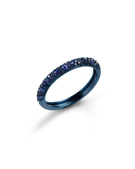 LANA Skinny 14k Blue Gold Blue Sapphire Ring, Size 6