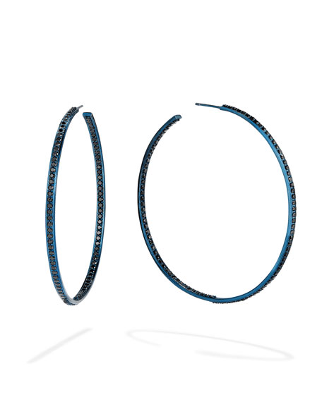 LANA 14k Blue Gold Black Diamond Hoop Earrings, 60mm
