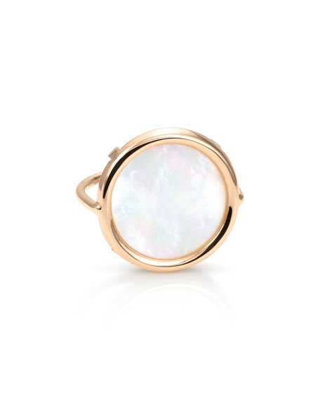 GINETTE NY Ever 18k Rose Gold Mother-of-Pearl Disc Ring, Size 6