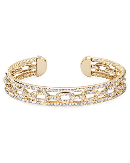 David Yurman Stax 18k Yellow Gold Diamond 3-Row Bracelet, Size L