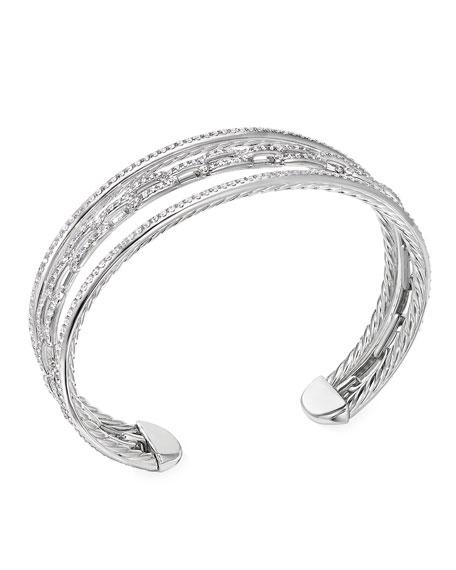 David Yurman Stax 18k White Gold Diamond 3-Row Bracelet, Size S