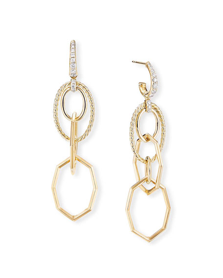 David Yurman Stax 18k Yellow Gold Mobile Drop Earrings w/ Diamonds