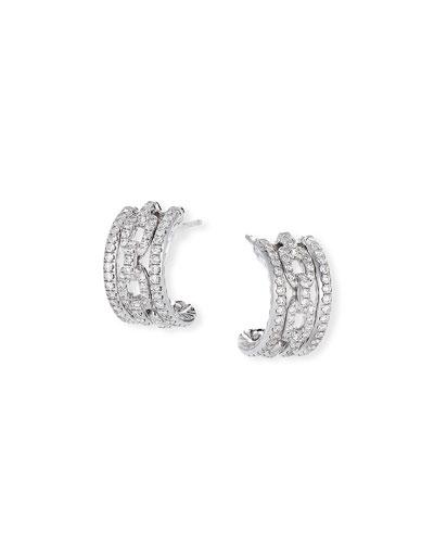 Stax 18k White Gold Diamond Huggie Hoop Earrings