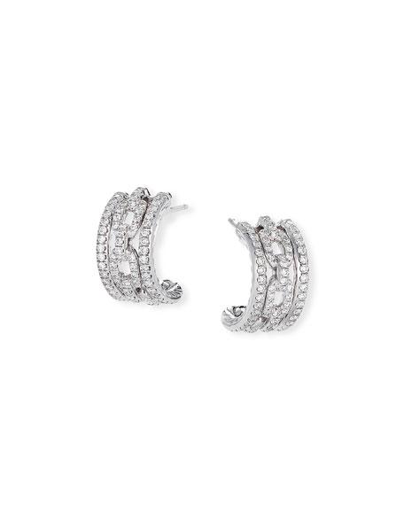 David Yurman Stax 18k White Gold Diamond Huggie Hoop Earrings