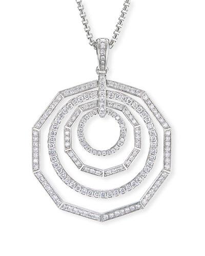Stax 18k White Gold Diamond 4-Ring Pendant Necklace