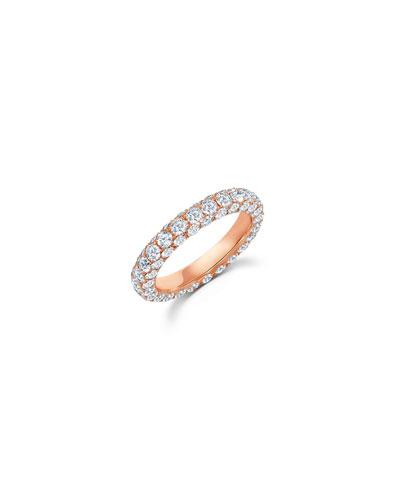 18k Rose Gold Diamond 3-Sided Ring  Size 7