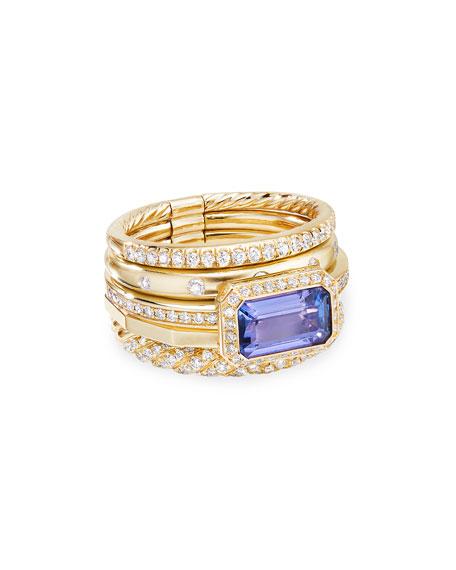 David Yurman Stax Fine Cable 18k Ring w/ Diamonds & Tanzanite, Size 7