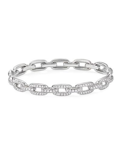 Stax 18k White Gold Diamond Link Bracelet  Size M