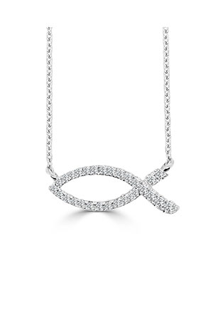 Frederic Sage 18k White Gold Ichthus Fish Diamond Necklace