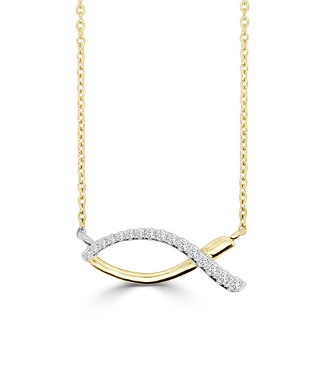 Frederic Sage 18k Ichthus Fish Half-Diamond Necklace