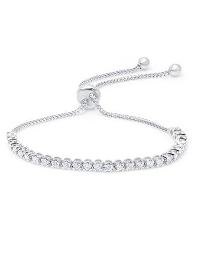 18k White Gold Diamond Bolo Bracelet
