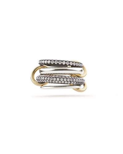 18k 4-Link Ring w/ Micropave Diamonds