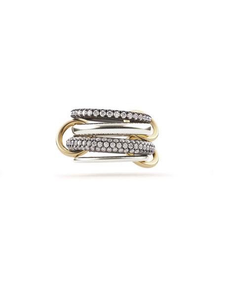 Spinelli Kilcollin 18k 4-Link Ring w/ Micropave Diamonds