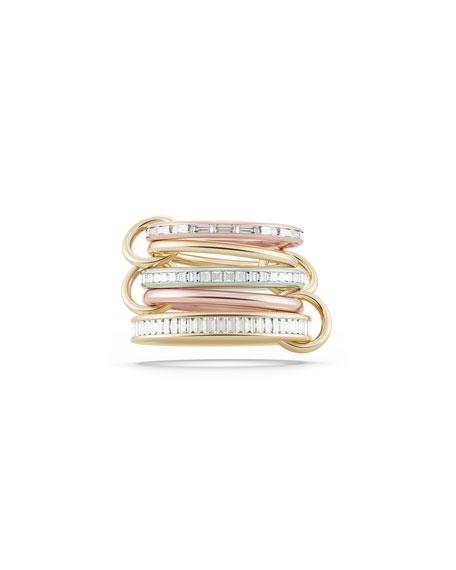 Spinelli Kilcollin Medora Tricolor 18k Gold 5-Link Ring w/ Diamonds