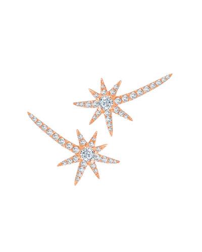 18k Rose Gold Diamond Shooting Star Earrings