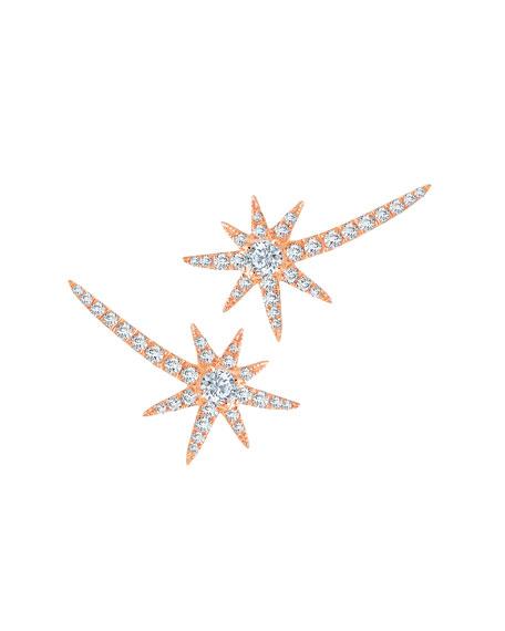 Graziela Gems 18k Rose Gold Diamond Shooting Star Earrings