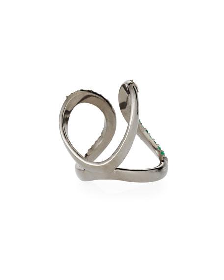 Siena Jewelry Emerald & Diamond Curve Ring, Size 7