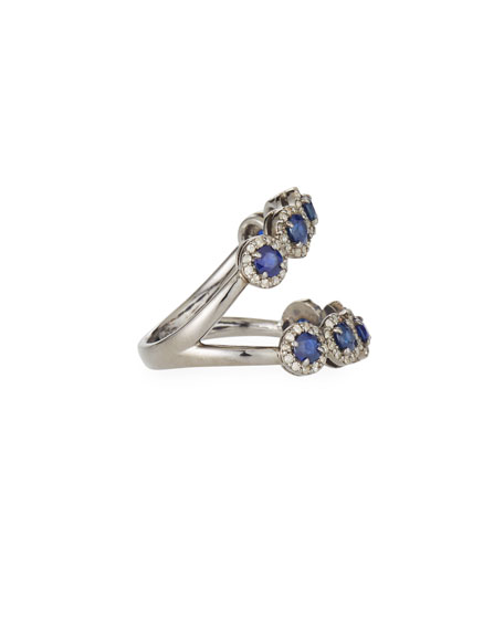 Siena Jewelry Slit Blue Sapphire & Diamond Halo Ring, Size 6.75
